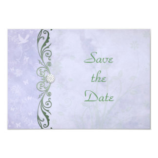 Periwinkle Spring Floral Wedding Save the Date 9 Cm X 13 Cm Invitation Card
