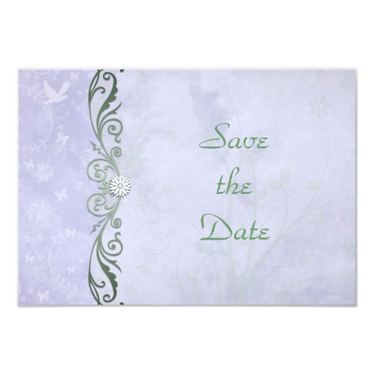 Periwinkle Spring Floral Wedding Save the Date Card
