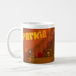 Perkie and the big birthday machine coffee mug