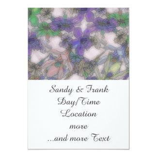 perky floral purple (I) 13 Cm X 18 Cm Invitation Card