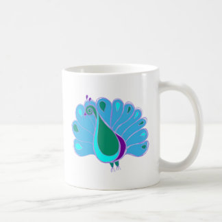 Perky Peacock Graphic Basic White Mug
