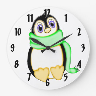 Perky Penguin Large Clock