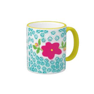 Perky Pink Flower Ringer Mug