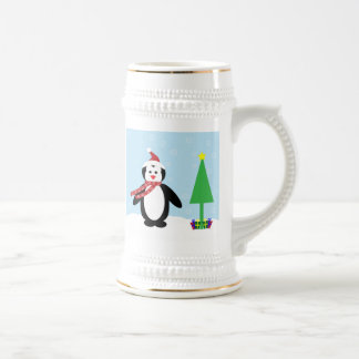Perky Pretty Christmas Penguin (Customize It!) Beer Steins