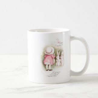 Perky White Easter Bunnies and Girl in Pink Dress Basic White Mug