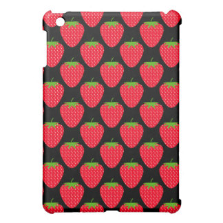 Pern of Red Strawberries on Black iPad Mini Case