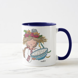 Perogie Pyrohy Pierogi Girl Ukrainian Folk Art Mug