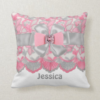Peronalized Pink,Gray Rhinestones,Bow Pillow Set
