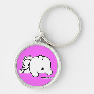 PeRoPuuu4 Silver-Colored Round Key Ring