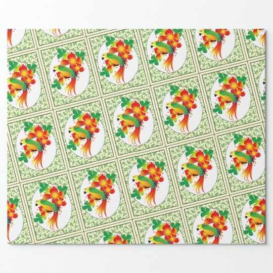 "PERROT BIRD 30"" x 30'     CARTOON Wrapping Paper"