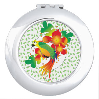 PERROT BIRD CARTOON compact mirror ROUND