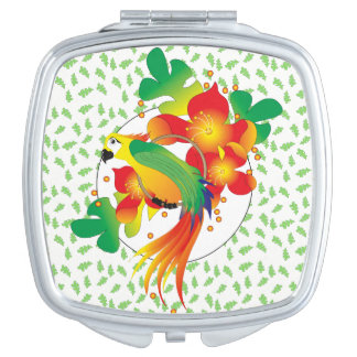 PERROT BIRD CARTOON compact mirror SQUARE