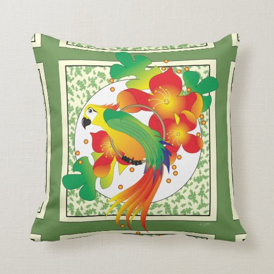 PERROT BIRD  THROW PILLOW 16 X 16