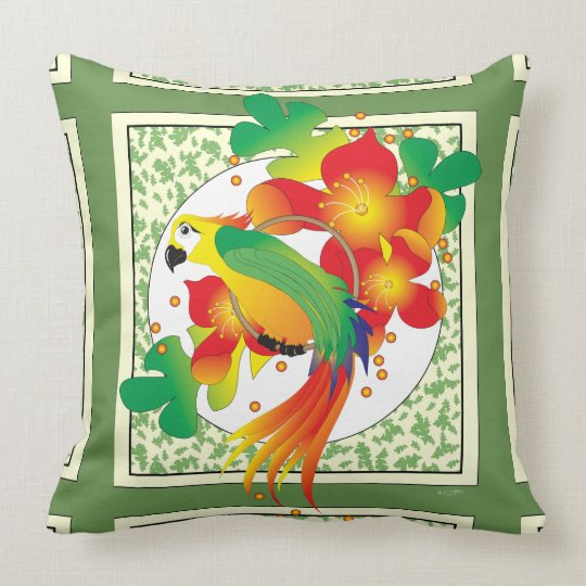 PERROT BIRD  THROW PILLOW 20 X 20