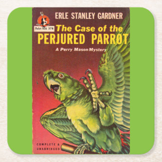 Perry Mason Case of the Perjured Parrot Square Paper Coaster