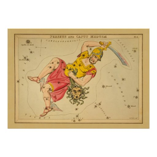 Perseus - Vintage Astronomical Star Chart Image Posters