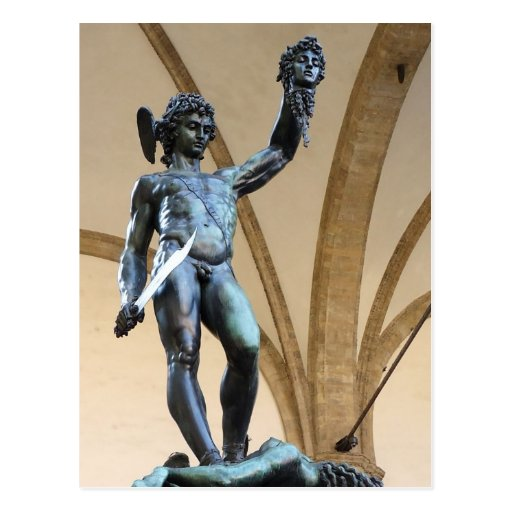 perseus with the head of medusa post card