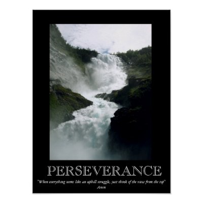 Motivational Posters Perseverance on Perseverance Waterfall Motivational Poster   Zazzle Co Uk