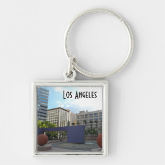 Pershing Square- Los Angeles Silver-Colored Square Key Ring