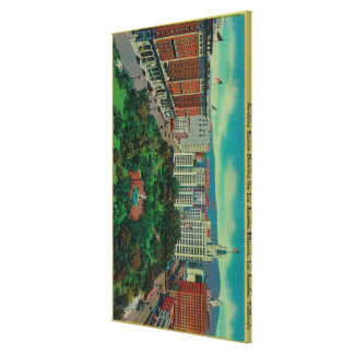 Pershing Square showing the Los Angeles Stretched Canvas Print