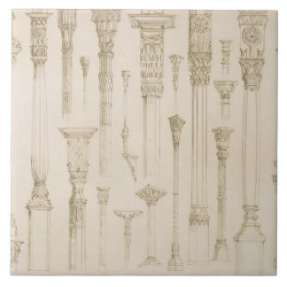 Persian and Turkish wooden column designs, from 'A Large Square Tile