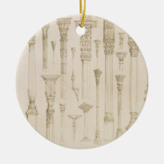 Persian and Turkish wooden column designs, from 'A Round Ceramic Decoration