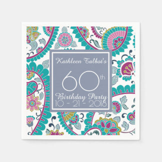 Persian Boteh Paisley 60th Birthday Party Paper N Disposable Serviette