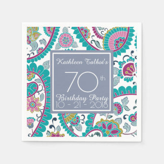 Persian Boteh Paisley 70th Birthday Party Paper N Paper Napkin