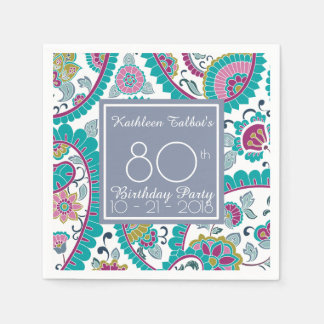 Persian Boteh Paisley 80th Birthday Party Paper N Disposable Napkins