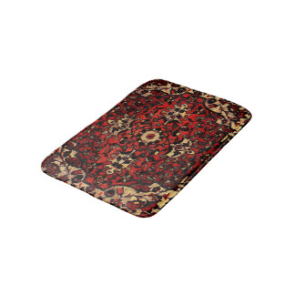 Persian carpet look in dark red and cream bath mat