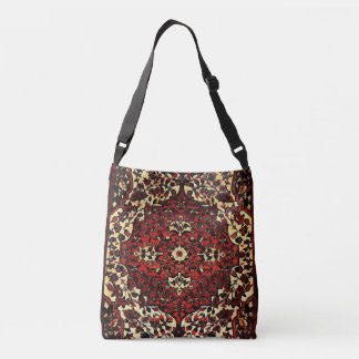 Persian carpet look in dark red and cream crossbody bag