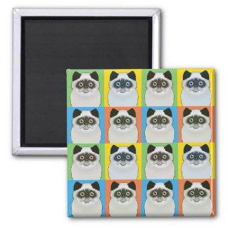 Persian Cat Cartoon Pop-Art (Seal-Point) Fridge Magnet