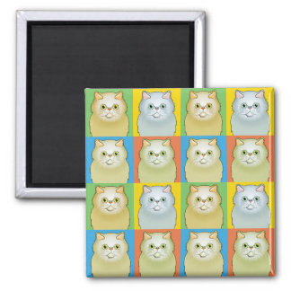 Persian Cat Cartoon Pop-Art (White, Flat) Fridge Magnet