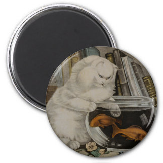 Persian Cat Fishing Fridge Magnet