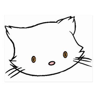 persian cat head cartoon postcard