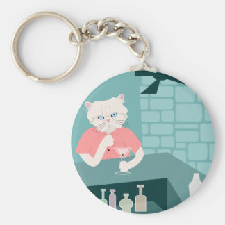 Persian Cat Martini Bar Basic Round Button Key Ring