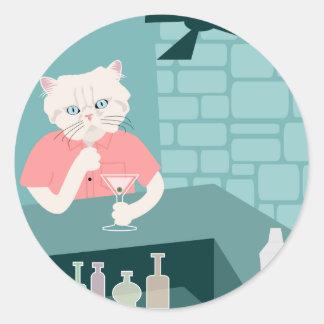 Persian Cat Martini Bar Classic Round Sticker