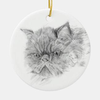 persian cat round ceramic decoration