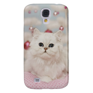 Persian cat sitting on pink pillow galaxy s4 case