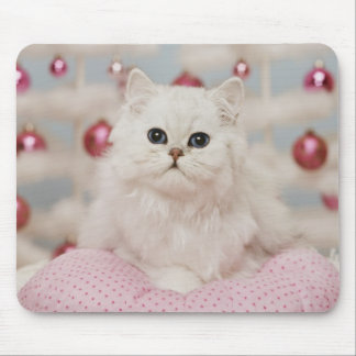 Persian cat sitting on pink pillow mouse mat