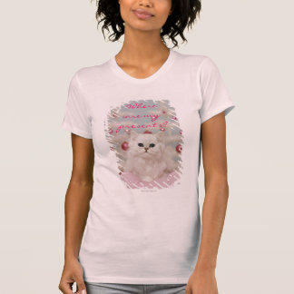Persian cat sitting on pink pillow T-Shirt