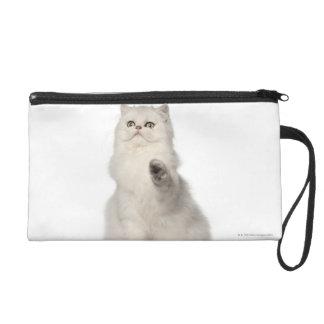 Persian cat sitting wristlet purse