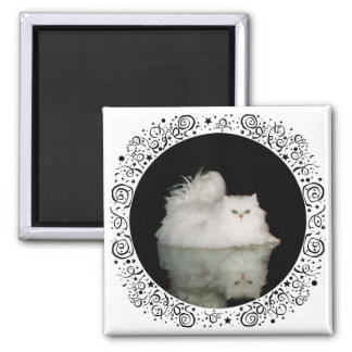Persian Cat with Jade Green Eyes Square Magnet