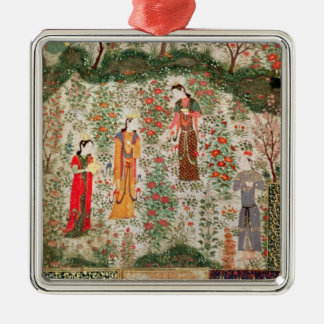Persian Garden, 15th century (w/c on paper) Christmas Ornament