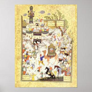 Persian Miniature: Aziz & Zulaykha in Egypt Poster