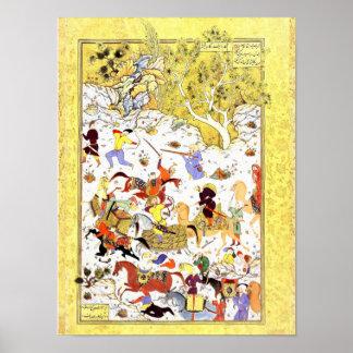 Persian Miniature: Bandits Attack the Caravan Poster