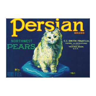Persian Pear Crate LabelYakima, WA Stretched Canvas Print