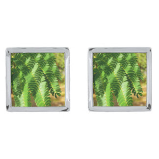 Persian Silk Tree Leaves Cufflinks Silver Finish Cuff Links