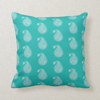 Persian tile paisley - white on turquoise cushion
