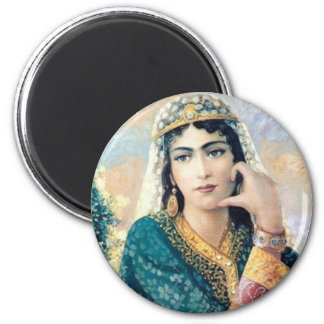 Persian Woman Folk painting in detail 6 Cm Round Magnet
